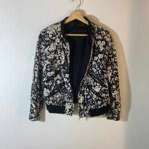 Zara Basics Floral Bomber Jacket
